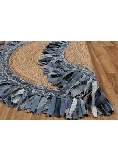 MarkaEv Flatweave Jüt El Halısı Mavi